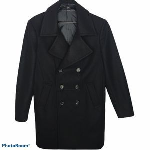 Zara Mens Black Wool Blend Double Breasted Coat M